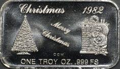 "1982 ""Merry Christmas"" Silver 1 oz Engraveable Bar"