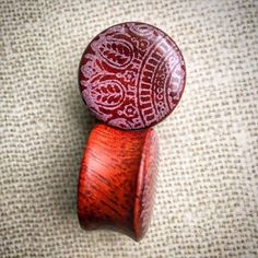 """Organic Mandala Bloodwood Plug Gauges for Stretched Ears. Sizes 1/2""""(13mm) through 1""""(25.5mm)"""