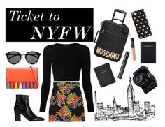 """""""Ticket to NYFW"""" by madelynadams ❤ liked on Polyvore featuring Rebecca Minkoff, MSGM, Cushnie Et Ochs, Yves Saint Laurent, FOSSIL, Moschino, NARS Cosmetics, Urban Decay, women's clothing and women"""