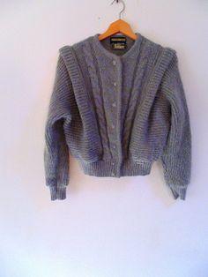 Vintage Geiger Sage Green Knit Wool Cardigan by ThreadyJenny, $30.00