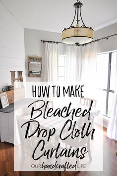 Learn how to make these gorgeous farmhouse style DIY No-Sew Bleached Drop Cloth Curtains. You will find out how to bleach drop cloths outside without making your house smell like chemicals and finishing in the washer and dryer. These drop cloths will come out soft and textured - with a feel almost like linen. They are creamy white and perfect for English cottage home decor or Farmhouse Fixer Upper decor - Joanna Gaines would love them! How to Make No-Sew Bleached Drop Cloth Curtains…