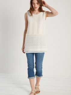 Esme cutwork tunic vest ~ white stuff