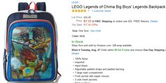 Get it fast before it sells out! LEGO Legends of Chima Boys' Backpack