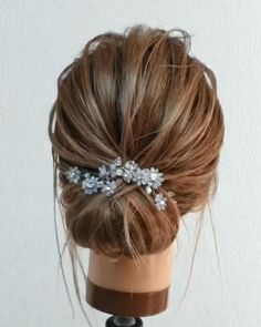 Hair Up Styles, Bride Hair Accessories, Wedding Hair Pins, Floral Hair, Bride Hairstyles, Hair Makeup, Hair Beauty, Color Mix, Silver Rhinestone