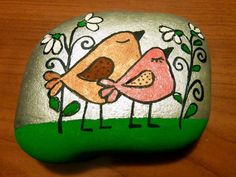 Painted rock: Birds