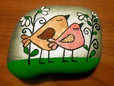Painted rock: Birds