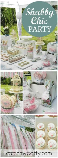 Loving this pretty shabby chic birds baptism party! See more party ideas at CatchMyParty.com!