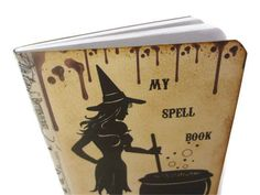 Halloween Spell Book, Goth Journal Mini, Witch Journal, Altered Art Journal, Halloween Journal. $5.00, via Etsy.
