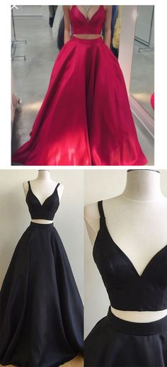2017 two piece long prom dress, two piece red long prom dress, black two piece long prom dress