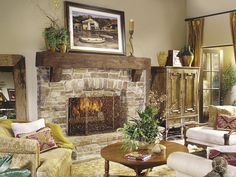 raised hearth fireplace with Eldorado Stone & heavy timber beam. Like stone with mantle, would carry the stone to the celing, looks cut off Wood Mantle Fireplace, Rustic Mantle, Stone Fireplace Surround, Living Room With Fireplace, Fireplace Design, Fireplace Ideas, Rustic Wood, Interior Design Living Room, Living Room Designs