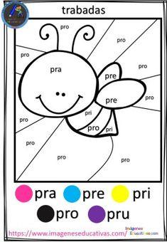 Fichas para colorear por trabadas - Imagenes Educativas Speech Language Therapy, Speech And Language, First Grade Worksheets, Preschool Learning Activities, 3rd Grade Math, Tot School, Learning Spanish, Kindergarten, Classroom