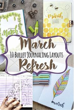 Pretty, easy and quick March bullet journal layouts so you feel inspired to use your bujo every day. Bullet Journal Christmas, April Bullet Journal, Bullet Journal Spread, Bullet Journal Layout, Bullet Journal Inspiration, Journal Pages, Journal Ideas, Bullet Journal Mental Health, Bullet Journal Stencils
