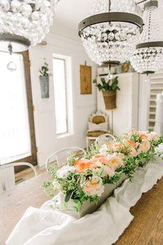 Cheerful Spring Farmhouse Dining Room   spring centerpiece