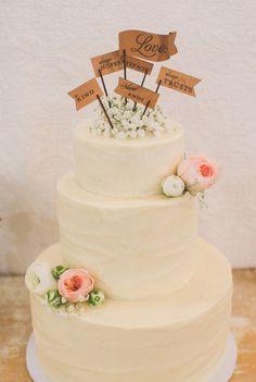 Loving the cake topper taken from Corinthians flowers wedding cake garden rose babies breath