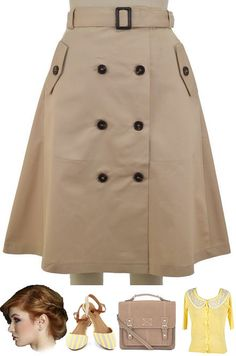 Vintage Inspired Khaki Full Flirty A Line Trench Skirt with . Classy Work Outfits, Casual Winter Outfits, Cool Outfits, Hijab Fashion, Fashion Outfits, Fashion Skirts, Latest African Fashion Dresses, Two Piece Dress, Petite Dresses