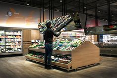 """Business Insider - MIT professor Carlo Ratti led the design for the """"Supermarket of the Future,"""" where information about every food appears on augmented reality mirrors. Store Layout, Retail Store Design, Retail Stores, Store Displays, Retail Displays, Merchandising Displays, Window Displays, Bakery Design, Retail Interior"""