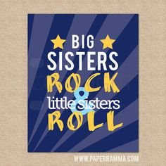 Big Brothers Rock Little Brothers Roll // Rock n Roll Nursery / Kids Room Giclée Art Print // Classic Rock Art // Music Nursery // Music Nursery, Red Nursery, Nursery Prints, Nursery Wall Art, Little Brothers, Little Sisters, Sisters Art, Room Style, Classic Rock