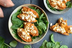 10 Minute Jacket Sweet Potatoes with Curried Tuna and Feta