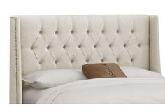 Alexander Tufted Wingback Bed, Talc