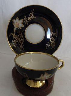 Numbered 1692 Johann Haviland Bavaria Germany Gold Small China Tea Cup & Saucer