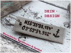 Schlüsselanhänger - KOORDINATEN No. 2 Schlüsselanhänger Leder &... - ein Designerstück von PowderArt bei DaWanda