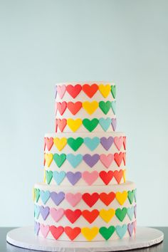 "Fondant Rainbow Hearts for 3 Tier Cake (6"", 8"", 10"" rounds), Cake or Cupcake Decoration"