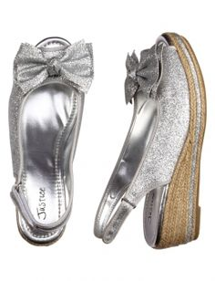 Silver Glitter Wedge Sandals. Cute with any cute dress! I want them! ;) from Justice