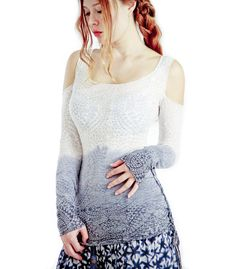 Long Sleeve Women shirt Dip Dyed, soft burn out fabric. $56.00, via Etsy. I WANT