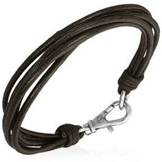 Multi Strand Dark Brown Leather Mens Bracelet