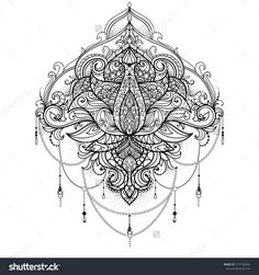 Hand drawn ornamental lotus flower for adult coloring book, tattoo, t shirt, design, invitation element.