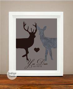Yes Deer, Deer Doe, Antler Couples Wedding Date Heart Print, Memories, Gift for Him, Anniversary Present, Personalized Wedding Gift on Etsy, $21.00