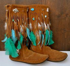 HOLIDAY SALE AMADAHY Forest Water Bohemian Upcycled Embellished Vintage Moccasin Fringe Boots Size 8.5
