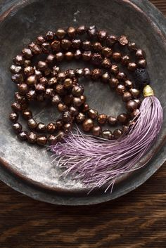 Rustic necklace | Very long bronze pearl mala necklace with a gorgeous silk tassel  by ThePillowBook - Unique boho fashion jewellery.