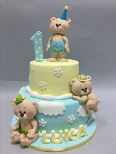 Teddy Bear Birthday Cake, Toddler Birthday Cakes, Boys First Birthday Cake, Cupcake Birthday Cake, Birthday Cake Decorating, Birthday Cookies, Cupcake Cakes, Torta Baby Shower, Baby Elephant Cake