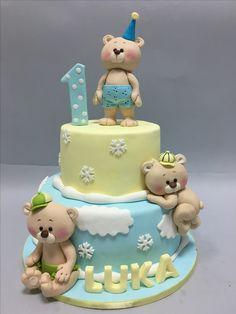 Teddy Bear Birthday Cake, Toddler Birthday Cakes, Boys First Birthday Cake, Cupcake Birthday Cake, Birthday Cake Decorating, Cupcake Cakes, Torta Baby Shower, Torte Cake, Baby Boy Cakes
