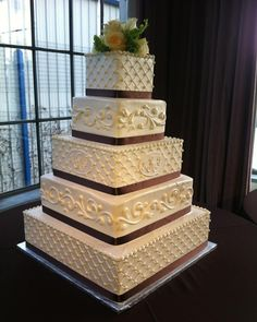 Five-Tiered Square Cake with a different scrollwork on each layer