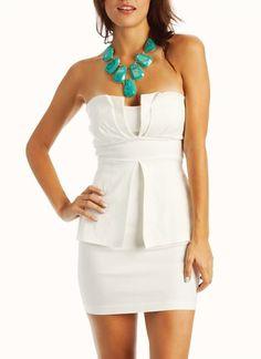 peplum-tube-dress BLACK WHITE - GoJane.com  great summer dress!