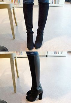 Miamasvin Basic Knee-High BootsChoose all out glam with these basic knee-high boots in mix media. Best when worn with a floral pastel pullover, coated black jeans, and black leather clutch.- Round toes- High chunky heels- Side zip closure- Color: Black