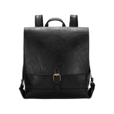 SheIn(sheinside) Black Buckle PU Backpacks ($25) ❤ liked on Polyvore featuring bags, backpacks, black, vintage rucksack, vintage backpacks, daypack bag, vintage knapsack and day pack backpack