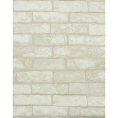 Modern Rustic Weathered Brick Wallpaper - Vanilla White
