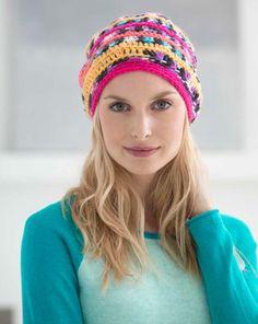 Free Crochet Pattern Sassy Slouch Hat Lion Brand® Vanna's Tapestry