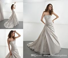 Wholesale 2014 New Style A-Line Beaded Sweetheart Wedding Dress White Ivory Satin Chapel Train Corset Lace Up Formal Bride Gown AQ257, Free shipping, $157.69/Piece | DHgate Mobile