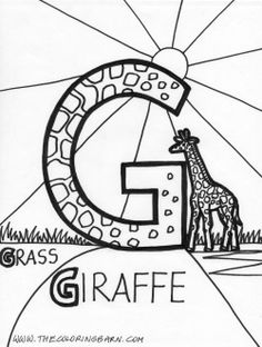 G for Grass Alphabet Words, Uppercase Alphabet, Abc Alphabet, English Alphabet, Animal Alphabet, Alphabet Coloring Pages, Coloring Books, Letter G, Flower Fairies