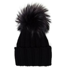 Inverni Cashmere and Fur Beanie (4.861.430 VND) ❤ liked on Polyvore featuring accessories, hats, black, inverni, beanie cap hat, pom pom beanie, cashmere beanie and inverni hats