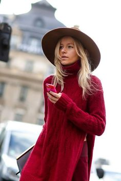 GORGEOUS REDS ONLINE NOW! www.esther,com.au xx Tan Hat, Scarlett, Burgundy Sweater, Red Jumper, Sweater Hat, Street Style, Look At You, Mode Inspiration, Red Sweaters