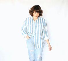 Vintage 80s Unisex Blue & White Bold Striped Denim Shirt // Button Up. $28.00, via Etsy.