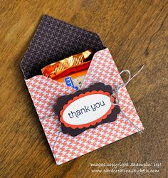 """I needed a quick little """"thank you"""" for some customers, so I turned to my handy Envelope Punch Board . I made an envelope that's siz. Envelope Maker, Gift Envelope, Candy Crafts, Paper Crafts, Diy Gift Bags Paper, Envelope Punch Board Projects, Stampin Up, How To Make An Envelope, Diy Cutting Board"""