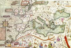 The Catalan Atlas produced in 1375 by the Majorcan cartographers Abraham and Jehuda Cresques is the most important Catalan world map of the Middle Ages. The world map originally consisted of various leaves. This is Europe. Old Maps, Antique Maps, Vintage World Maps, Map Of The Mediterranean, Out Of Place Artifacts, Medieval, Map Globe, Historical Maps, 14th Century
