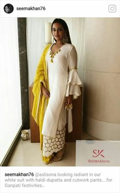 Ever so lovely Sonakshi Sinha in a Seema Khan outfit Salwar Designs, Blouse Designs, Indian Attire, Indian Wear, Pakistani Outfits, Indian Outfits, Ethnic Fashion, Indian Fashion, Middle Eastern Fashion