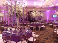 Blooming ribbon floral tree centerpieces at Temple Emmanuel Closter in NJ for a Bat Mitzvah. Designed by @xquisiteflowers.